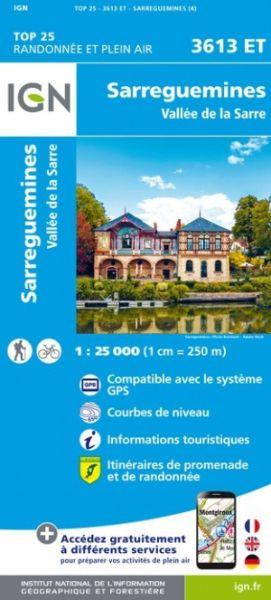 IGN 3613 ET Sarreguemines, Frankreich topographische Wanderkarte 1:25.000