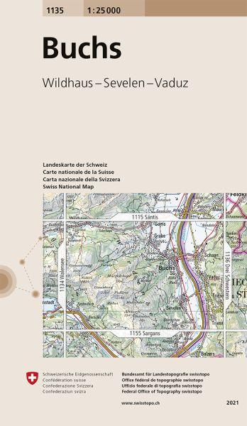 1135 Buchs topographische Wanderkarte Schweiz 1:25.000