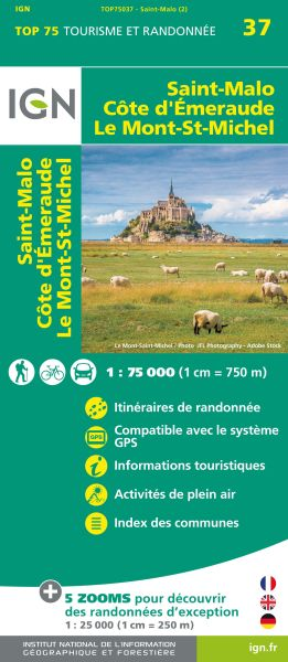 Saint-Malo 1:75.000 Rad- und Wanderkarte, IGN Top75037