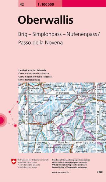 42 Oberwallis topographische Karte Schweiz 1:100.000