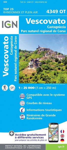 IGN 4349 OT Vescovato - Castagniccia, Korsika Wanderkarte 1:25.000