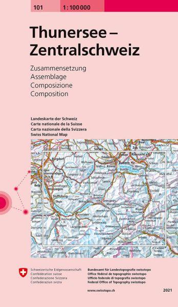 101 Thunersee - Zentralschweiz, topographische Karte Schweiz 1:100.000