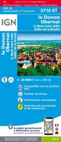 IGN 3716 ETR Mont Le Donon, Obernai, Frankreich reiß- und wasserfeste Wanderkarte 1:25.000
