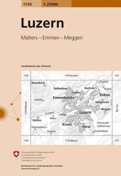 1150 Luzern topographische Wanderkarte Schweiz 1:25.000