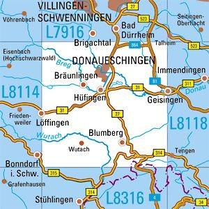 L8116 Donaueschingen topographische Karte 1:50.000 Baden-Württemberg, TK50