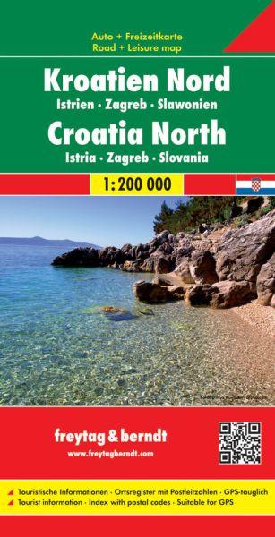 Kroatien Nord - Istrien, Zagreb, Slawonien, Straßenkarte 1:200.000, Freytag und Berndt