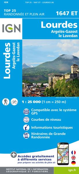 IGN 1647 ET Lourdes, Argeles-Gazost Frankreich Wanderkarte 1:25.000