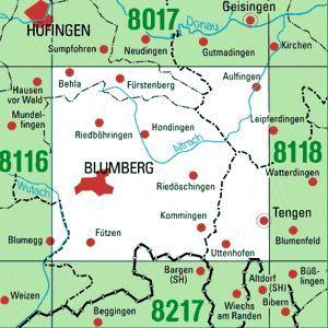 8117 BLUMBERG topographische Karte 1:25.000 Baden-Württemberg, TK25