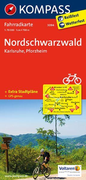 Kompass Fahrradkarte Blatt 3094 Nordschwarzwald, Karlsruhe, Pforzheim 1:70.000