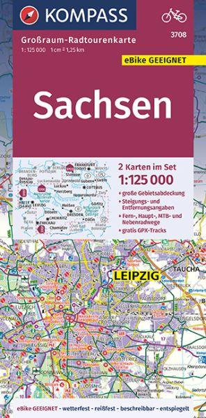 Kompass Großraum-Radtourenkarten Blatt 3708 Sachsen, 2-teiliges Set 1:125.000