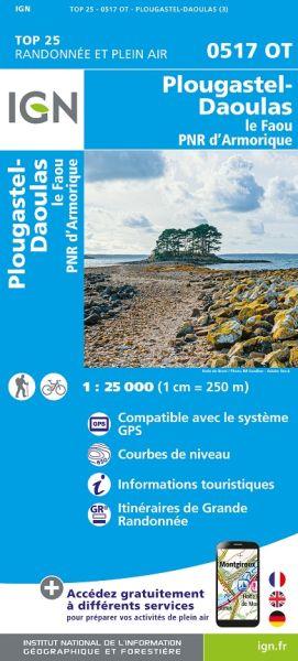 IGN 0517 OT Plougastel-Daoulas / Le Faou PNR Armorique, Frankreich Wanderkarte 1:25.000