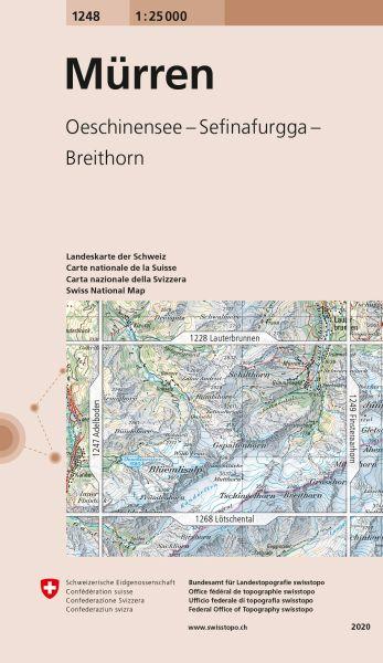 1248 Mürren topographische Wanderkarte Schweiz 1:25.000