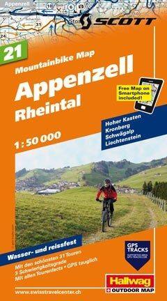 Hallwag Mountainbike Map Bl.21, Appenzell, Rheintal, 1:50.000, Wasser- und reißfest