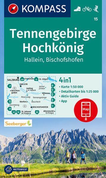 Kompass Karte 15, Tennengebirge, Hochkönig 1:50.000, Wandern, Rad fahren