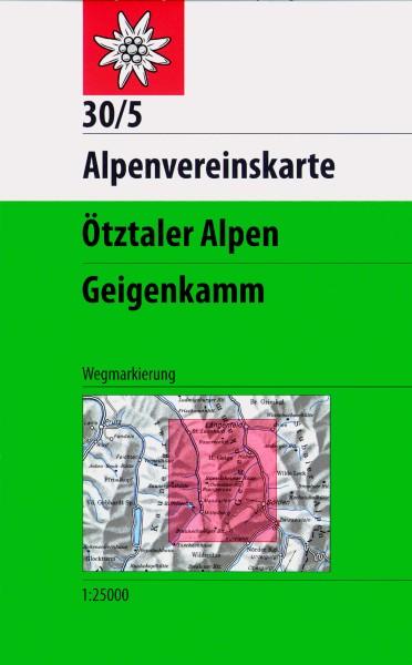 DAV Alpenvereinskarte 30/5 Ötztaler Alpen, Geigenkamm, Wanderkarte 1:25.000