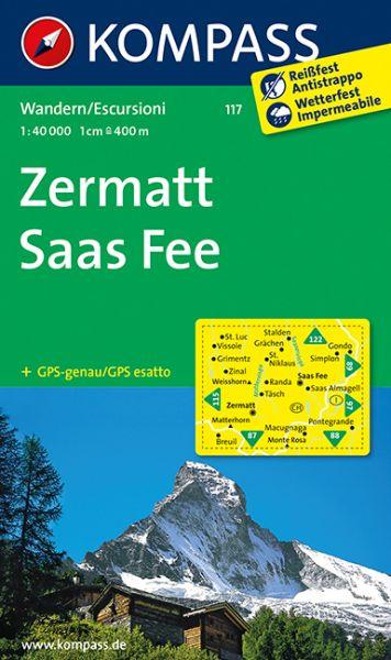 Kompass Karte 117, Zermatt, Saas Fee 1:40.000, Wandern, Rad fahren