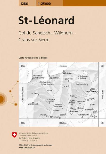 1286 St-Leonard topographische Wanderkarte Schweiz 1:25.000