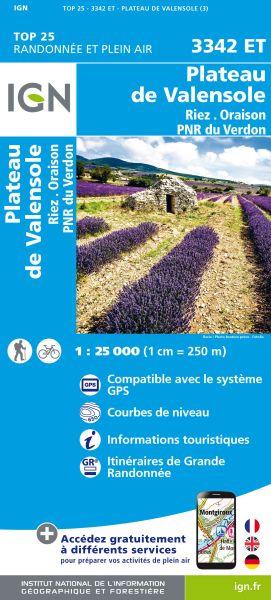 IGN 3342 ET Plateau de Valensole, Riez, Frankreich Wanderkarte 1:25.000