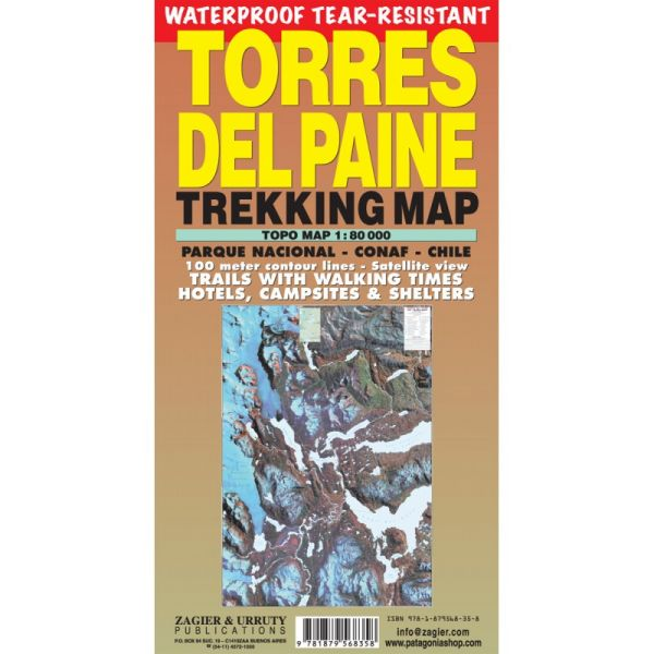 Torres del Paine Trekking map, Topographische Wanderkarte 1:80.000