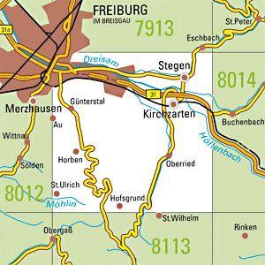 8013 FREIBURG SÜDOST topographische Karte 1:25.000 Baden-Württemberg, TK25