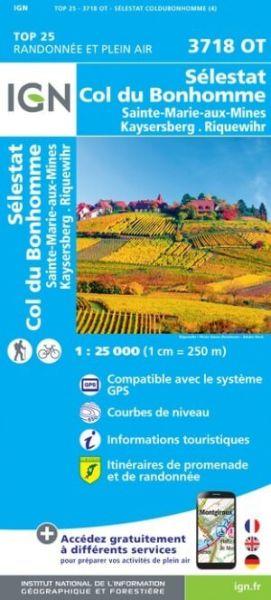 IGN 3718 OT Sélestat, Col du Bonhomme, Frankreich topographische Wanderkarte 1:25.000