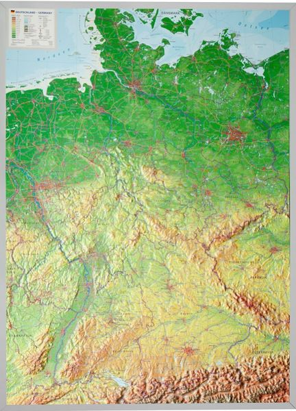 Deutschland Relief groß mit Alu-Rahmen – 77 cm x 57 cm