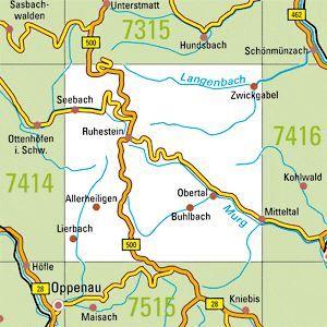 7415 SEEBACH topographische Karte 1:25.000 Baden-Württemberg, TK25