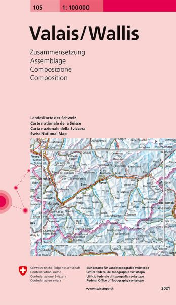 105 Valais / Wallis topographische Karte Schweiz 1:100.000