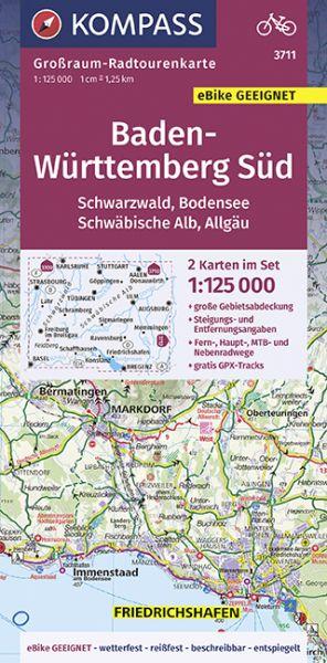 Kompass Großraum-Radtourenkarten Blatt 3711 Baden-Württemberg Süd, Schwarzwald, Bodensee, Schwäbisch