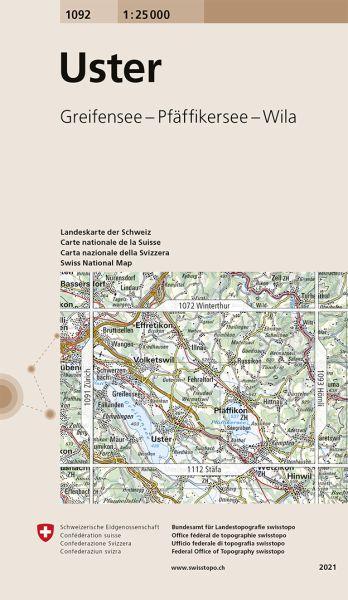 1092 Uster topographische Karte Schweiz 1:25.000
