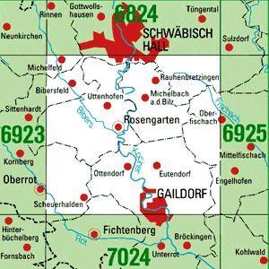 6924 GAILDORF topographische Karte 1:25.000 Baden-Württemberg, TK25