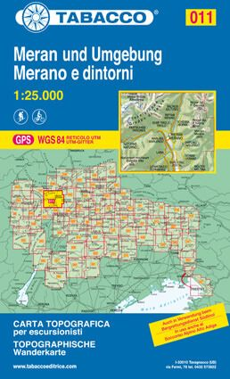 Tabacco 011 Meran und Umgebung Wanderkarte 1:25.000
