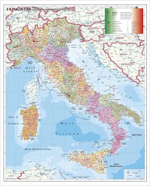 Italien Postleitzahlenkarte groß, Poster, Stiefel Verlag 97x119 cm