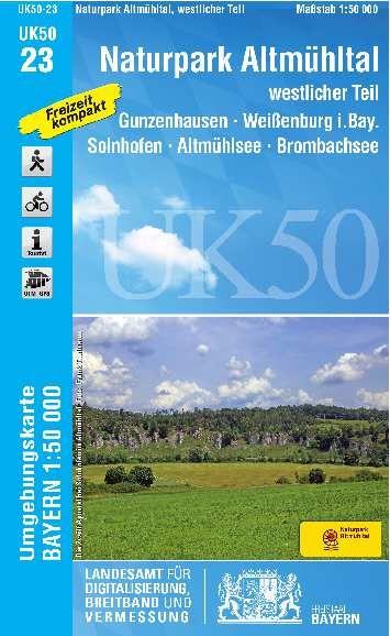 UK50-23 Naturpark Altmühltal West Rad- und Wanderkarte 1:50.000