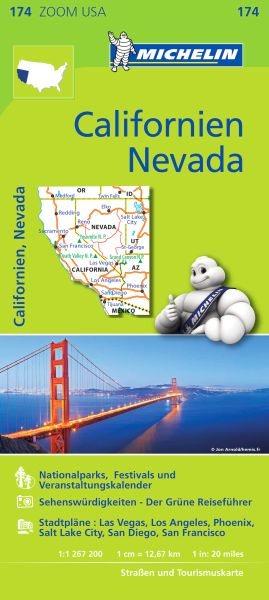 Michelin 174 Zoom USA Californien, Nevada Straßenkarte 1:1,26 Mio.