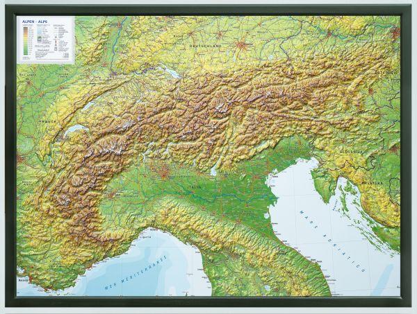 Alpen Relief groß mit Holz-Rahmen – 77 cm x 57 cm