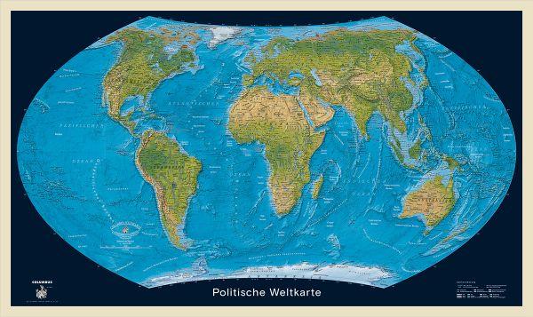Columbus Weltkarte, physisch / politisch mit Flaggen – 125 cm x 90 cm