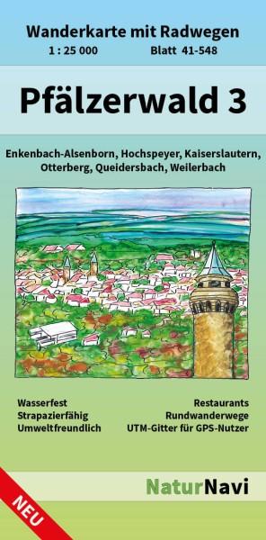 Pfälzerwald Nordwest Bl. 3 in 1:25.000 Wanderkarte mit Radwegen – NaturNavi Bl. 41-548