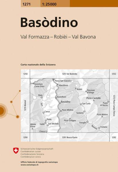 1271 Basodino topographische Wanderkarte Schweiz 1:25.000