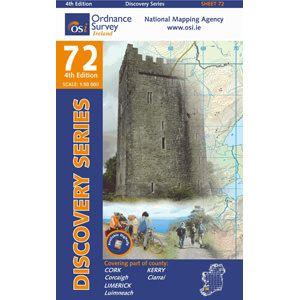 OSI 72 Kerry, Cork, Limerick Wanderkarte 1:50.000