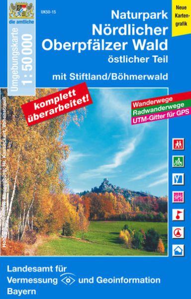 UK50-15 Naturpark Nördlicher Oberpfälzer Wald Ost Rad- und Wanderkarte 1:50.000