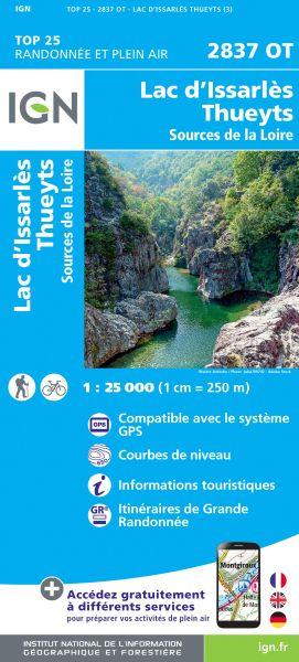 IGN 2837 OT Lac d'Issarles, Thueyts, Frankreich Wanderkarte 1:25.000