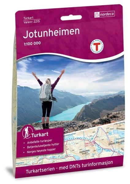 Jotunheimen Wanderkarte 1:100.000 – Norwegen, Turkart 2215 von Nordeca