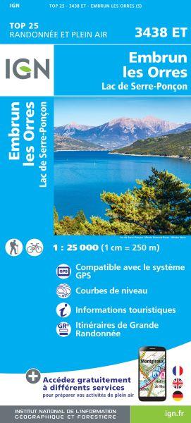 IGN 3438 ET Embrun, Les Orres, Frankreich Wanderkarte 1:25.000
