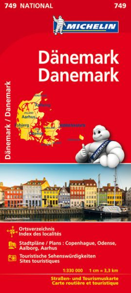 Michelin 749 Dänemark Straßenkarte 1:330.000