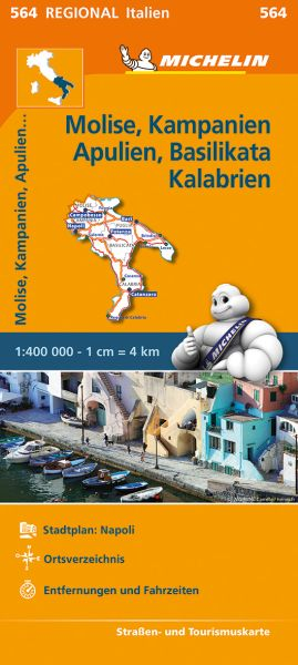 Michelin 564 Molise, Kampanien, Apulien, Basilikata, Kalabrien; Straßenkarte