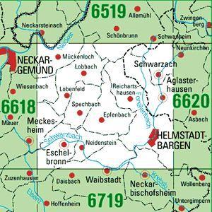 6619 HELMSTADT-BARGEN topographische Karte 1:25.000 Baden-Württemberg, TK25