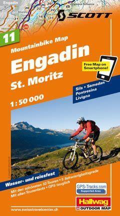 Hallwag Mountainbike Map Bl.11, Engadin, St.Moritz, 1:50.000, Wasser- und reißfest