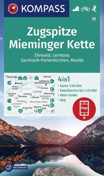 Kompass Karte 25, Zugspitze, Mieminger Kette 1:50.000, Wandern, Rad fahren