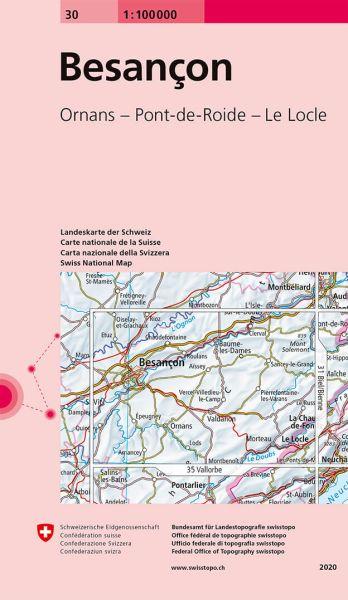 30 Besancon topographische Karte Schweiz 1:100.000